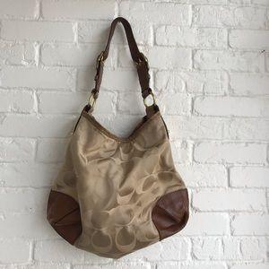 Coach Gold w/ brown leather & Snake skin Handbag